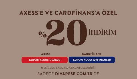 Divarese Axess ve CardFinans'a Özel Tüm Ürünlerde %20 İndirim Kodu