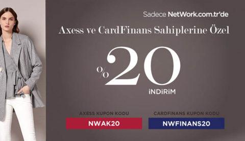 NetWork Axess ve CardFinans'a Özel Tüm Ürünlerde %20 İndirim Kodu