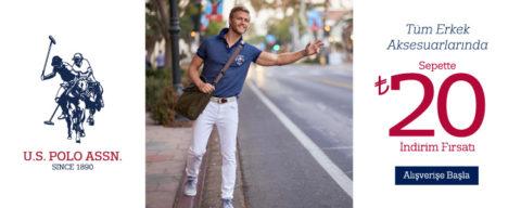 U.S. Polo Assn. Tüm Erkek Aksesuarlarda Sepette %20 İndirim