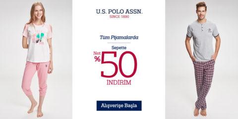 U.S. Polo Assn. Tüm Pijamalarda Sepette %50 İndirim