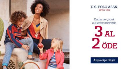 U.S. Polo Assn. Kadın ve Çocuk Outlet Ürünlerinde 3 Al 2 Öde